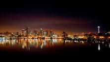 City Skyline at Night, Seattle, Washington, United States