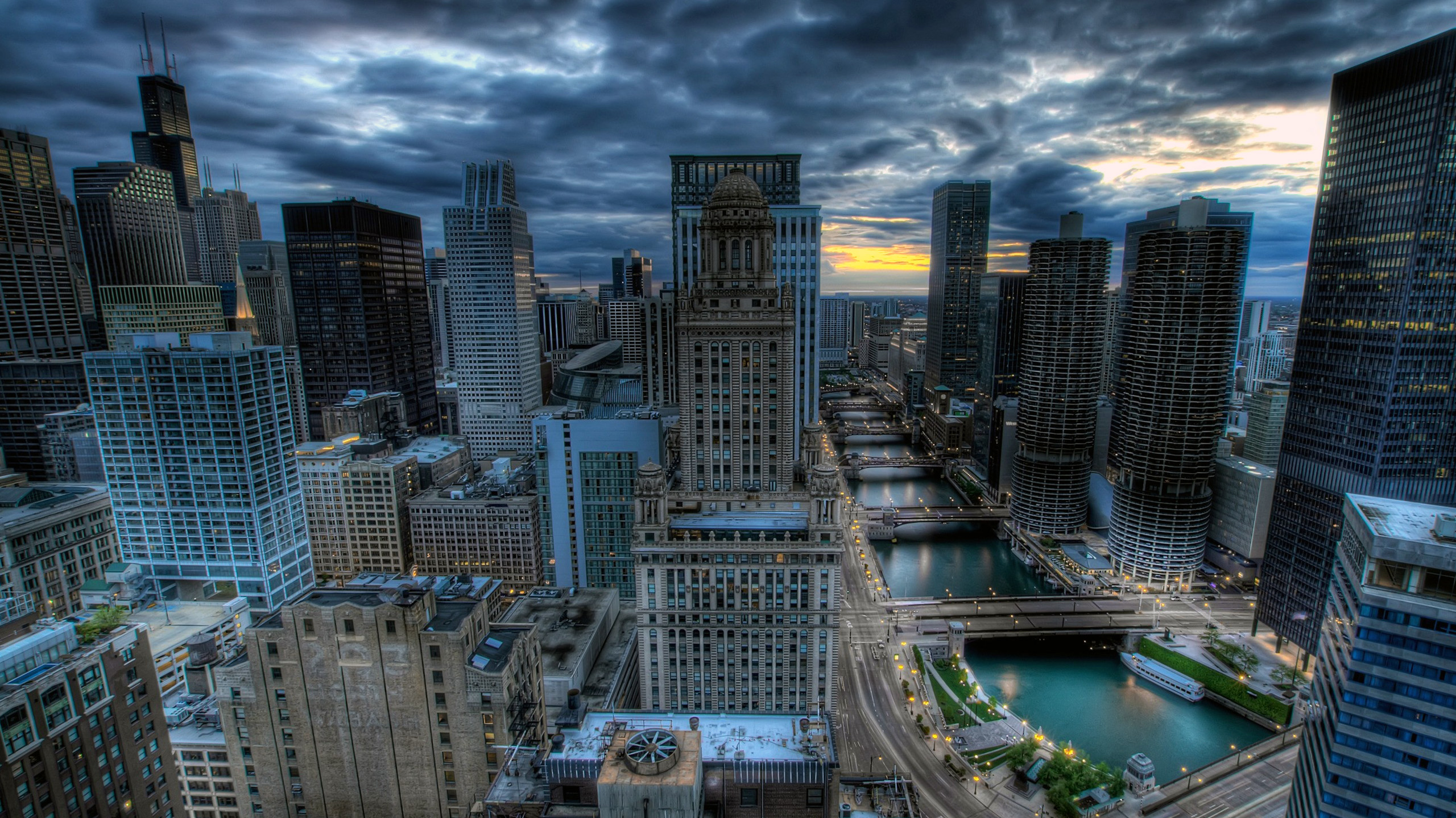 Chicago Illinois United States Chicago Skyline And River At Night