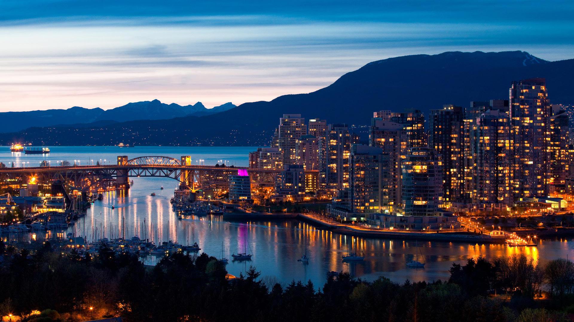 Burrard Street Bridge and Skyline, Vancouver, Canada